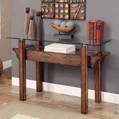 Furniture of America Charlotte Rustic Glass Top Sofa Table (Medium Weathered Oak), Black