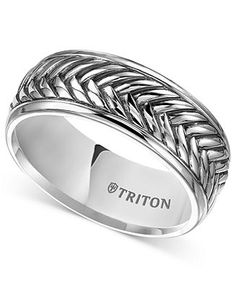 Triton Men's Sterling Silver Ring, 9mm Oxidized Crisscross Wedding Band - Wedding & Engagement Rings - Jewelry & Watches - Macy's