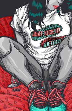 Green-Peach Kicks by Carlos Alberto Semerena Nuñez