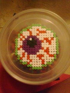 Blood shot eyeball perler beads by cupcakeGangstrr