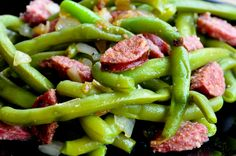 Sausage Sautéed Green Beans - Is your family tired of the same old green beans from a can? Try these! They will fall in love all over again! Perfect side dish for Thanksgiving!!