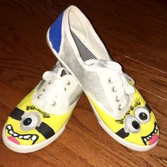 Homemade Minion Shoes With Keds These are white keds turned into minion shoes! Great for any costume or if you're just obsessed with minions. Only worn once and in great condition! No dirt or scuff marks. keds Shoes