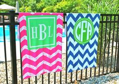 Monogram Chevron Towels For Summer!!!!!  Design your own at www.threehipchicks.com