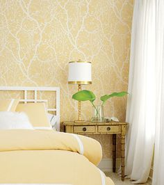 Yellow Bedroom Wallpaper Daffodil Decorating Ideas Daffodils Room Ideas And Passive Solar, Bedroom Ideas Designs And Inspiration Bedroom Yellow Bedrooms, Yellow Wallpaper Traditional Bedroom Boston By Brewster, Bedroom Wallpaper Yellow, Wallpaper Headboard, Tree Wallpaper, Cracked Wallpaper, White Wallpaper, Nature Wallpaper, Antique White Bedroom Furniture, Yellow Bedding, Wall Colors