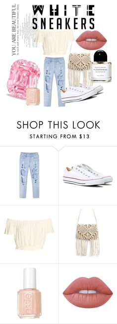 """""""4"""" by ppinjahz ❤ liked on Polyvore featuring Converse, Essie and Lime Crime"""