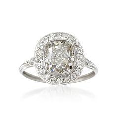 C. 1950 Vintage 3.29 ct. t.w. Diamond Ring in Platinum. Size 7
