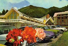 "Postcard from Romania, Transylvania / Transilvania / Erdély / Siebenbürgen, Poiana Brasov / Brassópojána / Schullerau, featuring CITROËN DS21 (x2!!!), MERCEDES-BENZ W114/115 ""Strich Acht"", FORD Escort Mk1, DACIA 1100, ŠKODA 1000MB, and others Escort Mk1, Ford Escort, Mercedes Benz, Iron, Retro, Architecture, House Styles, Arquitetura, Architecture Illustrations"