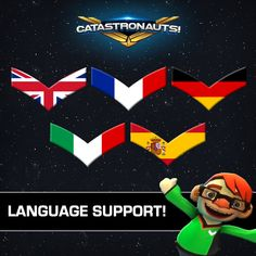 Catastronauts will support English French German Italian and Spanish . Destroy the enemy fleet Work together to defend your ship Save the galaxy . Game Dev, Indie Games, Game Design, Party Games, Xbox One, Games To Play, Ps4 Gameplay, Spanish, German