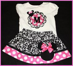 Super Cute Damask and Hot pink Minnie Mouse Initial Tee and Skirt set. $30.00, via Etsy.