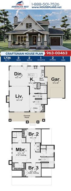 Plan 963-00463 outlines a darling Craftsman home design offering 1,736 sq. ft., 3 bedrooms, 2.5 bathrooms, a kitchen island, an open floor plan, and a mudroom. #craftsman #twostoryhome #openfloorplan #architecture #houseplans #housedesign #homedesign #homedesigns #architecturalplans #newconstruction #floorplans #dreamhome #dreamhouseplans #abhouseplans #besthouseplans #newhome #newhouse #homesweethome #buildingahome #buildahome #residentialplans #residentialhome Best House Plans, Dream House Plans, House Floor Plans, Craftsman Style Homes, Craftsman House Plans, Floor Plan Drawing, Garden Design Plans, Build Your Dream Home, Architectural Elements