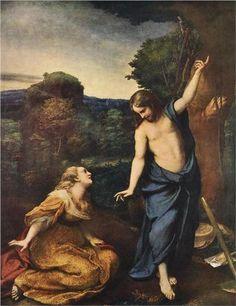 Noli Me Tangere - Correggio.  c.1525.  Oil on panel transferred to canvas.  130 x 103 cm.  Museo del Prado, Madrid, Spain.