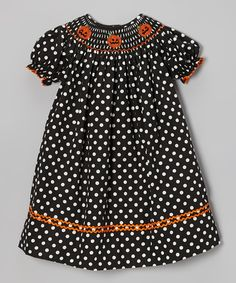 Take a look at this Black Polka Dot Pumpkin Bishop Dress - Infant & Toddler on zulily today!