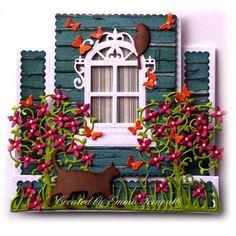 Window Stepper card, presscut, spellbinders, cheerylynn & memory box dies