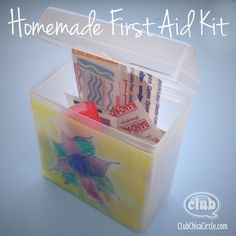 Recycle cheese container turned into homemade first aid kit - cool girl scout first aid badge idea