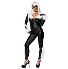 You'll stop everyone in their tracks this Halloween when you walk into the party wearing the Black Cat Sexy Women's Marvel Costume! With your purchase you will receive a gorgeous black jumpsuit with attached white fur a matching choker furry gloves and a black mask. Pick up yours today and then scan our site for a dazzling white wig to really upgrade your look! Hand Wash Only. Colors May Bleed. Do Not Twist or Wring. Reshape and Dry Flat. Do Not Dry Clean. Do Not Bleach
