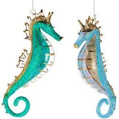 amazoncom christmas glass seahorse ornament set - Seahorse Christmas Ornament