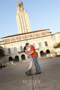 OMG...So precious! Engagement pictures in front of the Tower! Hook 'Em Forever!