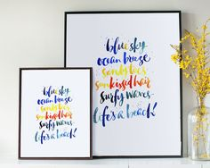 Life's a beach!  Brush calligraphy lettering by Kirsten Burke