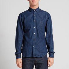 Gant Rugger Indigo Blue Men's Selvage Madras 'Town Collar' Shirt Large NWT $198  #GantRugger #ButtonFront