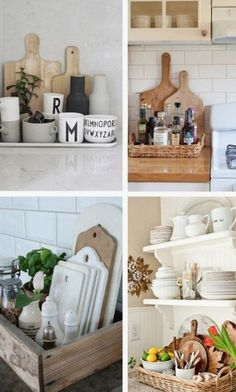 Control the Clutter: Organizing with Trays In Every Room of the House IN THE KITCHEN (clockwise from top left): The Design Chaser / Jennifer Grey Interiors via Houzz / Heather Bullard / Romantiska Hem Classic Kitchen, New Kitchen, Kitchen Decor, Kitchen Design, Kitchen Wood, Kitchen Cupboards, Decorating Kitchen, Kitchen Counters, Kitchen Ideas