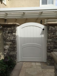 Custom Wood Gate with Raised Panel and Arched Crossbar by Garden Passages Wood Gates, Raised Panel, Craftsman Style, Custom Wood, Cottage Style, Garden Ideas, Gardens, Simple, Building