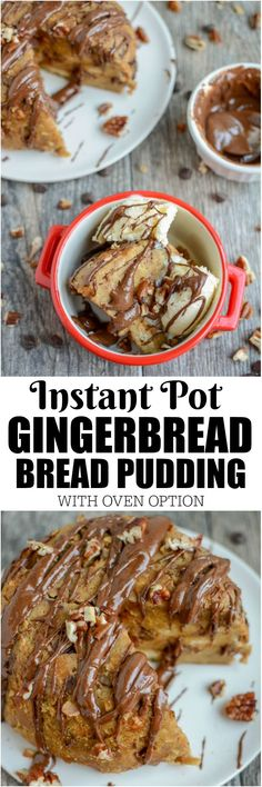 This Instant Pot Gingerbread Bread Pudding is the perfect dessert for a holiday party or family gathering. It can also be made in the oven!