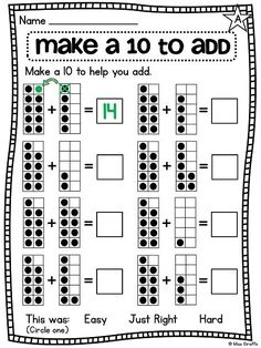 Making a ten to add easier differentiated worksheets and centers - makes this difficult first grade math concept so much easier! Math Classroom, Kindergarten Math, Teaching Math, Math Worksheets, Math Resources, Addition Worksheets, Printable Worksheets, Second Grade Math, Grade 1