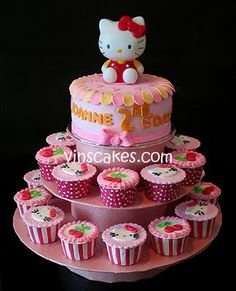 ok, the cake will be similar to this...only w/o the kitty on top...I am thinking a garden party motif on top of the cake and petit fours instead of cupcakes