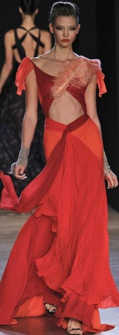 Zac Posen - red couture - 2011