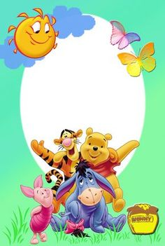 Playing and Crafting: Pooh and Friends Photo Frame Disney Photo Frames, Disney Frames, Family Photo Frames, Picture Borders, Page Borders, Borders And Frames, Winnie The Pooh Quotes, Winnie The Pooh Friends, Birthday Frames