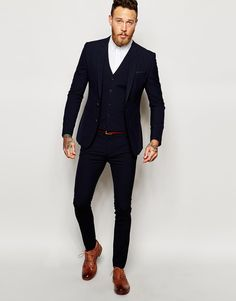 Image 1 of ASOS Navy Super Skinny Suit