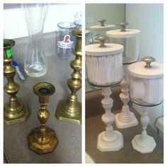 My favorite DIY project! I made these out of brass candlestick holders I found at Goodwill, empty candle jars, and door knobs from Lowes! Spray paint and super glue and voila! - Diy for Houses Diy Kitchen Storage, Craft Storage, Storage Jars, Bathroom Storage, Storage Ideas, Paint Storage, Dollar Store Crafts, Dollar Stores, Thrift Stores