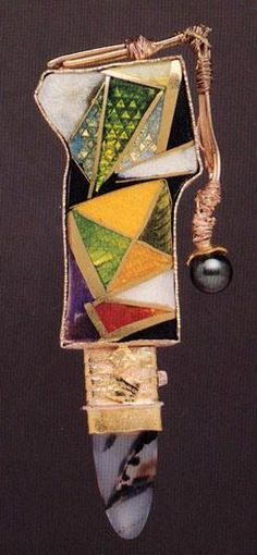 william harper   VARIATION #6 ON A THEME BY J.J. AND E.M.     1993    gold cloisonné' enamel on fine gold and fine silver; 14 and 24 kt gold; sterling silver; agate; pearl