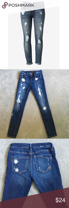 Express Distressed Skinny Jeans - Size 2 - Best skinny jeans ever! I have 2 pairs so I'm selling these. Size 2R from Express. Fit true to size with great stretch! Measurements posted in last pic! Please read. These jeans are amazing & I promise you'll love them! Worn a few times and always washed cold and low tumble. All distressing is intentional. Make the butt look amazing! 😆 No flaws or odors! Comes from a smoke-free home. Please ask any questions before buying. Reasonable offers will be…