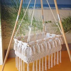 Preorder Of Hanging Swinging Baby Cradle In Macrame Oval