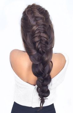 Gorgeous dutch fishtail braid with Dark Brown Luxy Hair extensions on @liliyakay!