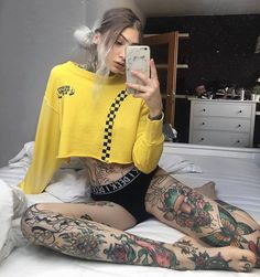"2,840 Likes, 4 Comments - (@dayyang_) on Instagram: ""#grunge #girl #grungegirl #tattoo #black #alternative #fishnets #white #aesthetics #tattoos #outfit…"""