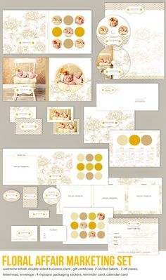 Floral Affair Marketing Set includes : Marketing Trifold , Double Sided Business Card, Letterhead , Envelope, Appointment Reminder Card, Gift Certificate, Packaging Stickers, Cd Covers, Cd/Dvd labels, 2011 Calendar CardPsd Files