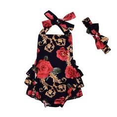 Baby Girl Infant Toddler Halter Rose Flower Lace Romper Jumpsuit Sleeveless Backless Sun suit Clothing #babysunsuit
