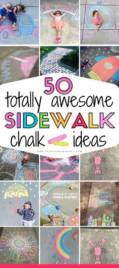 Try these fun unique and creative sidewalk chalk art ideas on a gorgeous sunny day! : Try these fun unique and creative sidewalk chalk art ideas on a gorgeous sunny day! Summer Fun For Kids, Summer Activities For Kids, Toddler Activities, Fun Activities, Art For Kids, Babysitting Activities, Toddler Fun, Toddler Crafts, Projects For Kids