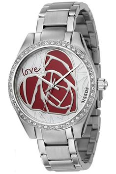 0e195e139b1a New Fossil Watch Heart Love Crystal Bezel ES2302 NWT
