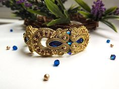 Soutache bracelet Blue gold soutache bracelet от JaneEJewelry