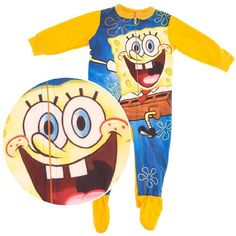 Spongebob Squarepants Yellow Footed Sleeper Pajamas « Clothing Impulse