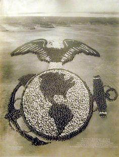 Arthur Mole - U.S. Marine Corps emblem using 6,000 marines at Paris Island in 1920