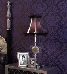 Luxrious Dark Purple Damask Embossed Textured Background Wallpaper Wall Paper