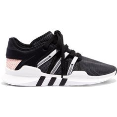 adidas Originals EQT Racing ADV stretch-knit and neoprene sneakers found on Polyvore featuring shoes, sneakers, black, black trainers, neoprene shoes, black sneakers, adidas originals shoes and lacing sneakers