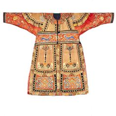 Chinese Theatrical costume, 19th Century Theatrical Military Costume for a General in orange silk embroidered with a pair of fu-dogs chasing a ball across chest; below are applique dragon faces with metal studs; further down is a design with canopy and lotus with clouds/waves almost like the figure of a pair of dragons.