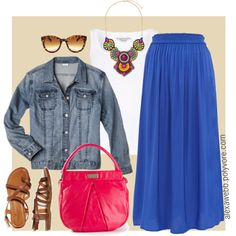 "#plus #size #outfit ""Plus Size - Bright Maxi Skirt"" by alexawebb on Polyvore"