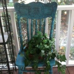 Broken Chair turned turquoise planter