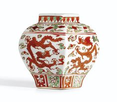 RED AND GREEN ENAMELED 'DRAGON' JAR MARK AND PERIOD OF JIAJING